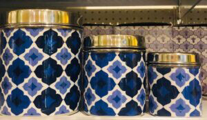 Lotus Market - Blue Holiday Tin Cans