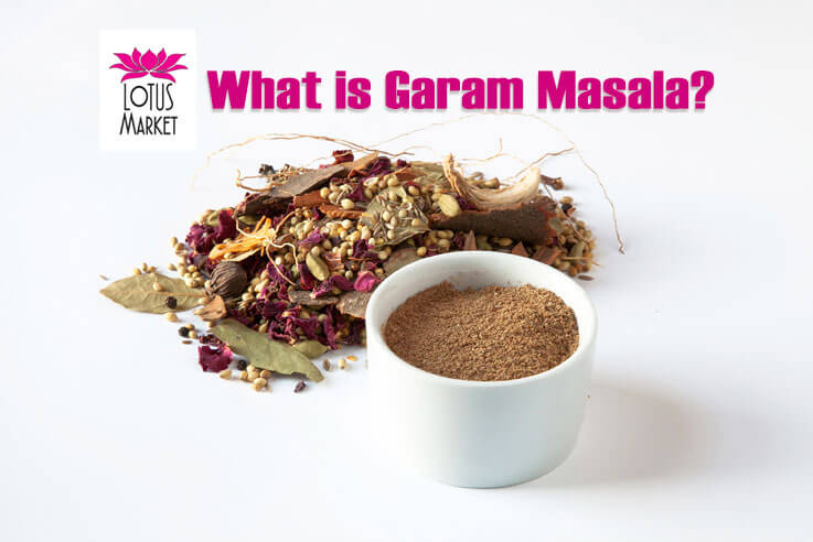 Lotus Market - What is Garam Masala - A container of garam masala with spices, logo and text.