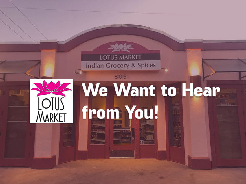 Lotus Market - Write Your Review - Storefront, logo and text.