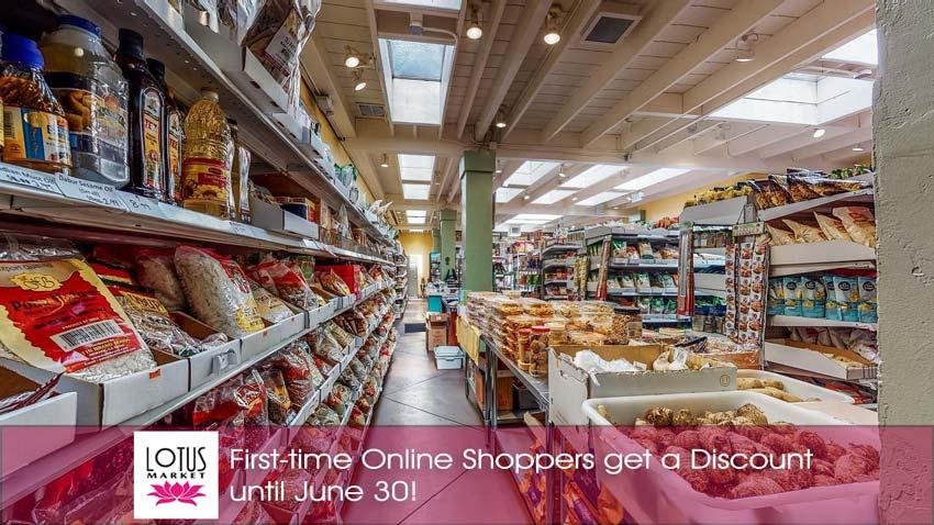 Lotus Market - 10% Off at LotusMarkets - Lotus Market interior, logo and text.