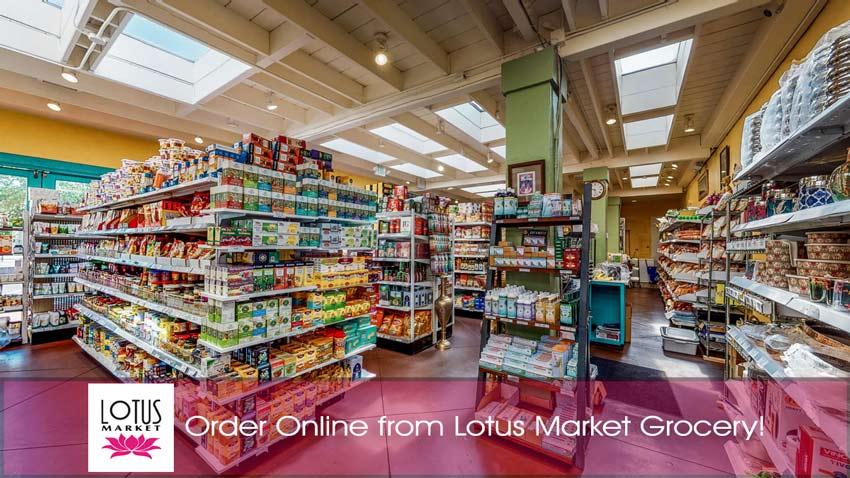 Order Online at Lotus Market - Lotus Market Grocery interior, logo and texts.
