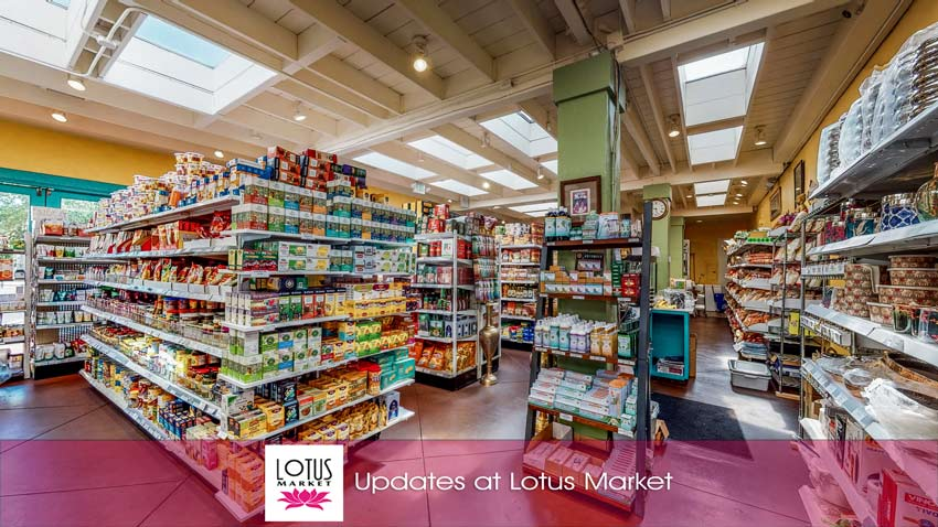 News from Lotus Market - Grocery items on shelves